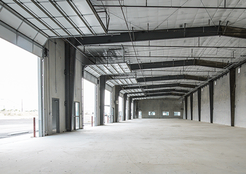 Interior of Shell Warehouse with Doors Open